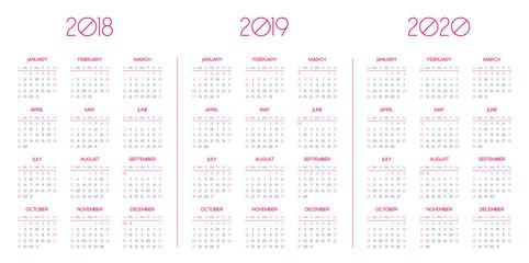 Calendar template for 2018, 2019, 2020