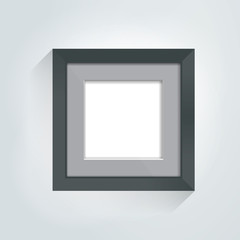Photoframe mock up on the wall. Simple black empty framing. Template for poster, picture, painting. Vector.