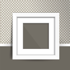 Photoframe mock up on the wall. Simple white empty framing. Template for poster, picture, painting. Vector.