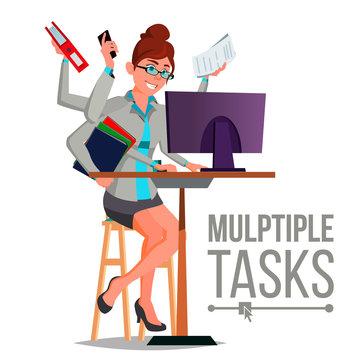 Multiple Tasks Business Woman Vector. Many Hands Doing Tasks. Professional Occupation. Flat Cartoon Illustration