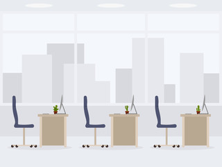 Design of modern empty office side view. Vector illustration of working place