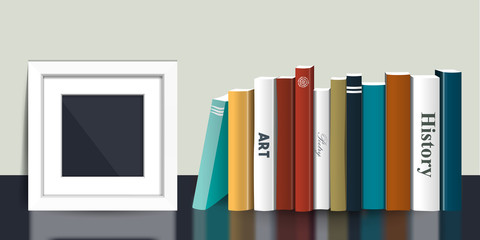 Book shelf with picture mock up frame. Realistic 3D Vector illustration. Color design. Bookstore indoor.