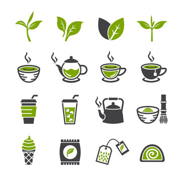 Green tea icon set