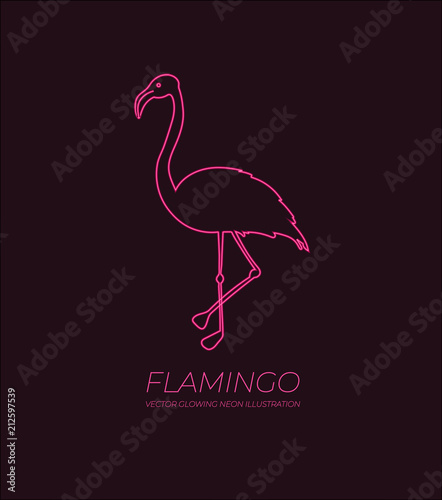 Vector Shining Pink Flamingo Neon Sign With Text Sample Lights On