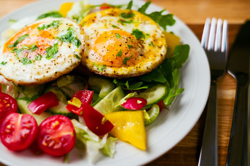 Tasty and healthy breakfast eggs and vegetable salad