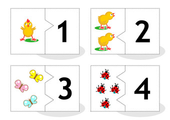 Learn counting 2-part puzzle cards to cut out and play, with chicks, butterflies, ladybugs, numbers 1 - 4