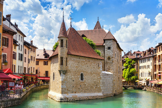.Medieval castle on the canal in the French city of Annecy resort. Department of Upper Savoy. France.