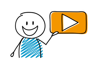Video player icon with happy stickman. Vector.