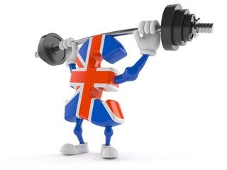 Pound currency character lifting heavy barbell