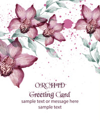 Watercolor Orchid flowers card Vector. Vintage background with paint splashes