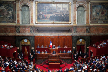 French President Emmanuel Macron addresses both the upper and lower houses of the French parliament  at a special session in Versailles