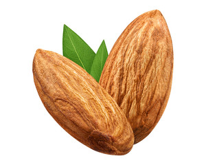 Two Almond isolated closeup without shell with leaf as package design element on white background. Group Nut macro concept. Full depth of field ( DOF ).