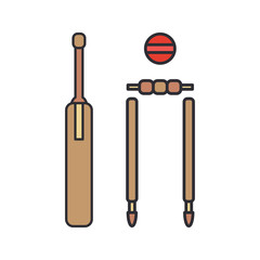 Color vector icon wooden cricket gate, ball, goal. Sport equipment success symbol. Athletic competition activity. Beater, catcher. British college game. Score. Field. Retro style illustration element