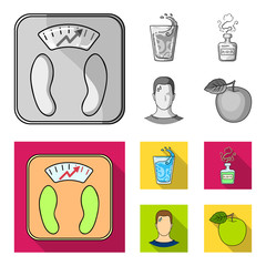 A glass of water, a bottle of alcohol, a sweating man, an apple. Diabeth set collection icons in monochrome,flat style vector symbol stock illustration web.