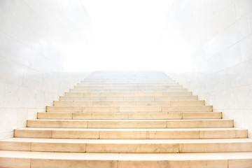Marble staircase with stairs with white isolated background