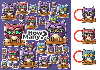 How Many. Owls Counting. Children's Educational Game