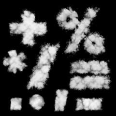 White math signs cloud shapes