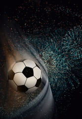 World Cup, football, soccer ball, star match, winning goal. Soccer background with free space for text.
