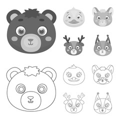 Bear, duck, mouse, deer. Animal muzzle set collection icons in outline,monochrome style vector symbol stock illustration web.