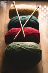 Multicolored of yarn arranged in row