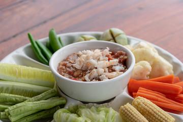 shrimp Chili Sauce and thai vegetables.