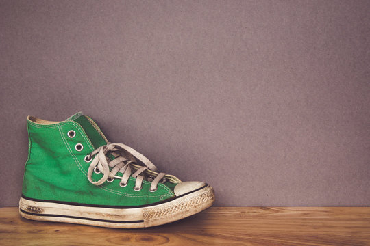 green shoe, sneakers with filter effect retro vintage style