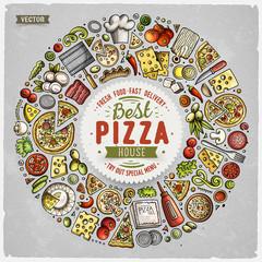Set of DPizza cartoon doodle objects, symbols and items