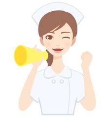 メガホンを持って応援をする若い看護師 白衣 かわいい フラット イラスト
