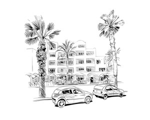Medina Susa. Tunisia. North Africa. Hand drawn vector illustration.