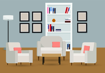 Interior of the living room with furniture , Vector illustration