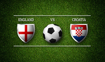 Football Match schedule, England vs Croatia, flags of countries and soccer ball - 3D rendering