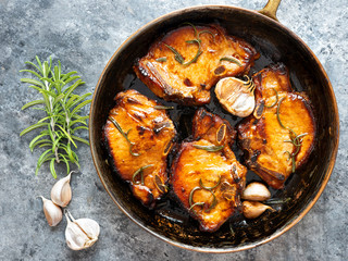 rustic pan fried pork chops