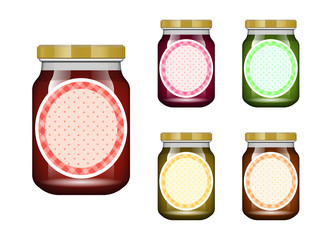 Glass jar with jam and configure. Vector illustration. Packaging collection. Label for jam. Bank realistic. Mock up glass jar with design label and logo.