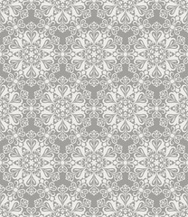 Beige and white seamless floral wallpaper