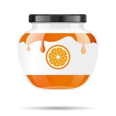 Glass jar with jam and configure with orange. Vector illustration. Packaging collection. Label for jam. Bank realistic. Mock up glass jar with design label and logo.
