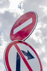 No Right Turn Sign and no drive sign