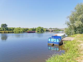 Barges at Gunthorpe Bridge on the River Trent in Nottinghamshire
