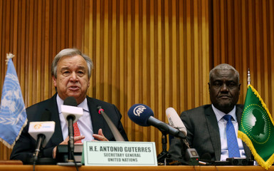 U.N. Secretary General Antonio Guterres flanked by the African Union Commission Chairperson Moussa Faki Mahamat addresses a news conference at the AUC headquarters in Addis Ababa