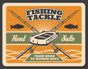 Vector vintage poster for fishing store