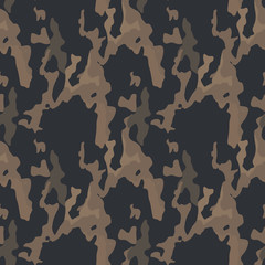 Military camouflage seamless pattern in different shades of brown color