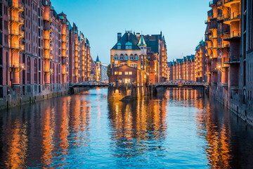 Hamburg Speicherstadt at twilight, Germany
