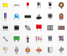 Electronic components and spare parts for electronic circuits. Set of vector icons.