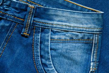 Details from blue jeans. Pocket.