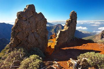 Strange rocky formations above the crater Caldera de Taburiente, Island of La Palma, Canary Islands, Spain