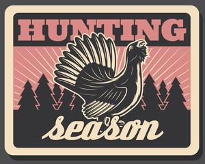 Vector blackcock retro poster for hunting season