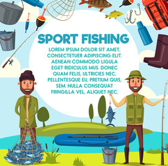 Vector cartoon fisher men with fish catch and rod