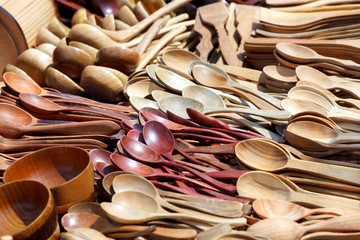 Wooden spoons and wooden bowls.