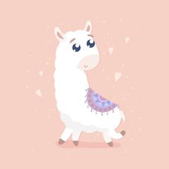 Cute cartoon llama vector illustration. Flat design.