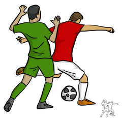 two men soccer player playing football competition fighting for a ball vector illustration sketch doodle hand drawn with black lines isolated on white background