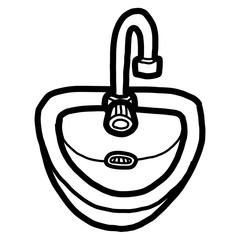 bathroom sink / cartoon vector and illustration, black and white, hand drawn, sketch style, isolated on white background.